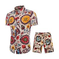 Plus Size Summer Men's Print Suit Csaual Short Sleeve Tops And Short Pants Set