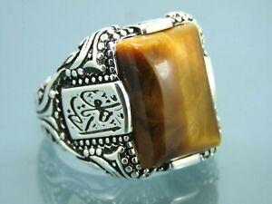 Turkish Handmade Jewelry 925 Sterling Silver Tiger's Eye Stone Men Ring Sz 11