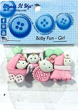DRESS IT UP BUTTON EMBELLISHMENTS ~BABY FUN GIRL 6 PIECES