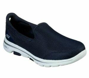 Womens Skechers GO WALK 5 Slip On Gym Walking Trainers Blue Slip On Size UK 7