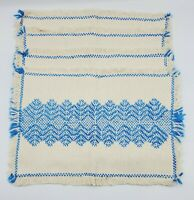 Handwoven Placemats Set of 4 Cream & Blue Azure Geometric Pattern w Fringe BOHO