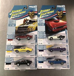 SET OF 6 JOHNNY LIGHTNING CLASS OF 1971 MUSCLE CARS U.S.A. CUDA, JAVELIN,BUICK