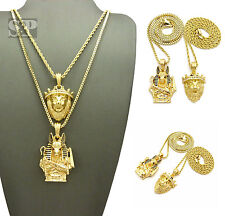 ICED OUT KING LION & ANUBIS PENDANT & ROPE & BOX CHAIN HIP HOP 2 NECKLACE SET