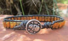 Handcrafted Gift Men's Gold Hematite Magnetic Surf Black Leather Bracelet Skull