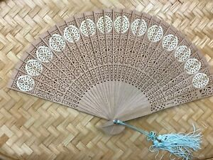 Vintage Wooden Hand Fan with Blue Hanging Tassel in Colorful Box