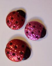 Set of 3 Glitter Ladybug Handmade Decorative Push Pins/Thumbtacks