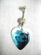 NEW SALE WICKED ZOMBIE CREATURE DUDE GUITAR PICK w CLEAR CZ BELLY RING NAVEL BAR