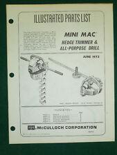 JUNE / 1973 McCULLOCH HEDGE TRIMER & DRILL PARTS MANUAL