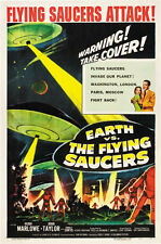 Earth vs the flying saucers 1956 Sci-fi movie poster print 2