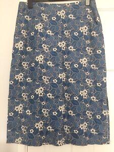 SEASALT WOMENS LINEN SKIRT BLUE STRAWBERRIES HERRING U.K. SIZE 16 Immaculate