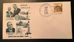 RARE Post Stamped FDC Covers. Space Center APOLLO 5 1968