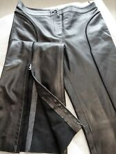** VALENTINO ** NEW without tag, Lamb Skin Wide-leg Black Ladies Pants, Size 12
