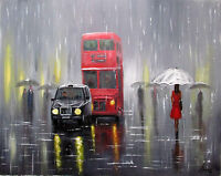 100%HAND-PAINTED ART  OIL PAINTING Figure London Cityscape canvas 16X20INCH