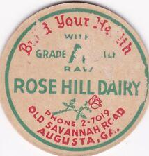 MILK BOTTLE CAP. ROSE HILL DAIRY. AGUSTA, GA.