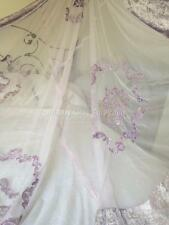 Shabby Purple Chic Lace Velvet Queen King Bed Quilt Lavender Bedspread Coverlet