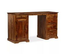 Antique Pedestal Desk Large Writing Table Vintage Office Furniture Solid Wood PC