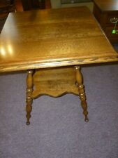 Antique Oak Table Parlor lamp plant stand side , end, refinished 1900's