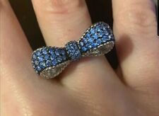 $450 J. Ripka WORN TWICE Sterling 925 Simulated Blue Sapphires BOW ring size 7