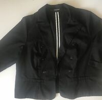 Women's MAURICES Black With White Pinstripe Blazer Jacket Sz 2 Plus 3/4 Sleeve