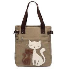 Womens Cat Canvas Handbag Tote Bag Large Lady Handbags Shoulder