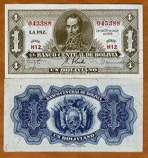 Bolivia, 1 Bolivano, L. 1928, Pick 128a, XF-aUNC