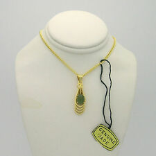 "NWT genuine Jade cabochon gold tone necklace, 16"" chain"
