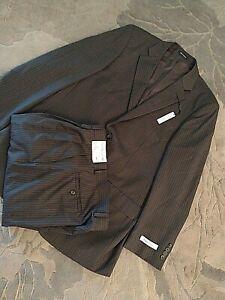 "New Pronto Uomo 100% Wool Suit Jacket 42"" Pants 42"" Long x 36"" Waist Brown Pin"
