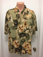 Puritan hawaiian floral short sleeve shirt mens l large button rayon hibiscus