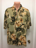 Puritan large hawaiian floral short sleeve shirt mens button rayon hibiscus