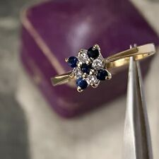Vintage 18ct Gold Sapphire and Diamond Ring, Engagement Cluster Date 1983 UK M