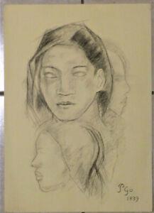 Paul Gauguin. Signed black chalk drawing of a Tahitian woman.