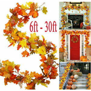 30ft Halloween Artificial Autumn Garland Door Decor Maple Leaves Hanging Fall UK