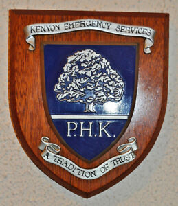 PHK Kenyon Emergency Services wall plaque shield crest coat of arms