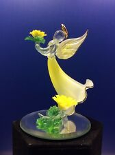 CRYSTAL IMPRESSIONS ANGEL FIGURINE W/ CALENDULA FLOWER OVER A MIRROR BASE