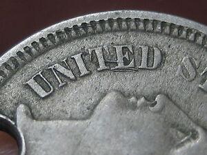1865 or 1875 Three 3 Cent Nickel- VF Details, Die Cracks