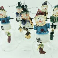Snowman Bell Christmas Ornament Set Of 8 Adorable Gift Birdhouse Tree Stocking