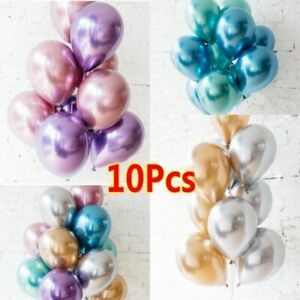 "10 Mixed Metallic Balloons Chrome Shiny Latex 12"" Thicken For Wedding Party Baby"