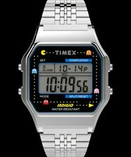 Timex T80 PAC-MAN 34mm Stainless Steel Bracelet Watch 80S LIMITED PACMAN Silver