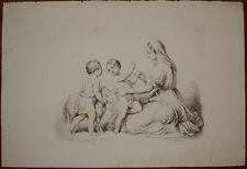 natività madonna gesù giovannino stampa antica old print jesus john 1840 c.