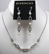 Givenchy Faux Pearl Crystal Pave' Silver Tone Necklace & Earrings Set MSRP $120