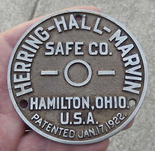 Antique & Original Herring Hall Marvin Safe Co. Plaque