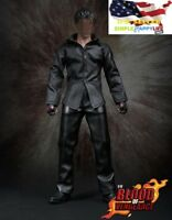 "1/6 scale men black shirt leather pants for 12"" figure hot toys ganghood  ❶USA❶"