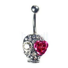 Crystal Skull Flower Body Piercing Rhinestone Bar Belly Ring Navel Gift MA