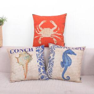 "Rustic Yellow Anchor Throw Cushion Case Pillow Covers 18"" Seahorse Coastal Conch"