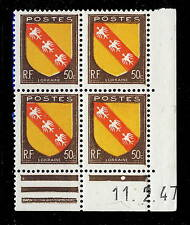 FRANCE - 1947 - N°757 50c LORRAINE COIN DATÉ du 11.2.47 (1 point blanc) - TB