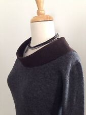 HACHE Edgy Avant Garde Minimalist Gray Top Architectural Felted Collar 38