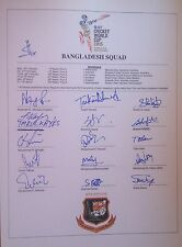 Bangladesh SIGNED 2015 ODI Cricket World Cup team sheet. Shakib Al-Hasan etc.