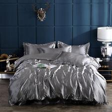 Satin Silk Solid Color Bedding Set Home Textile King Bed Set Duvet Cover Sheet