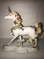 2007 CHRISTMAS FINE PORCELAIN JOURNEY TO THE NORTH POLE UNICORN W/ GOLD HORN