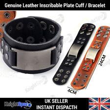 Genuine Leather Metal Plate Bracelet / Cuff Rock Punk Rocker Surf Unisex Gothic